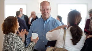 Nova Scotia PC leader Jamie Baillie speaks to supporters during a campaign stop in Halifax on Sunday, April 30, 2017. (THE CANADIAN PRESS/Darren Calabrese)