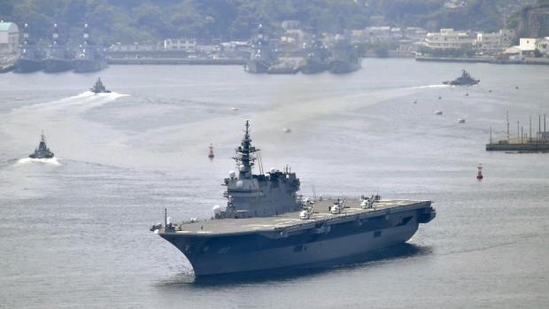Izumo departs Yokosuka port