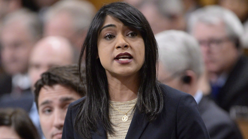Government House Leader Bardish Chagger answers a question during question period in the House of Commons in Ottawa, Tuesday, April 11, 2017. (Adrian Wyld / THE CANADIAN PRESS)