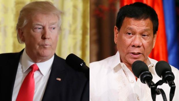 Donald Trump, left, and Rodrigo Duterte are seen in this compsite image. (AP)