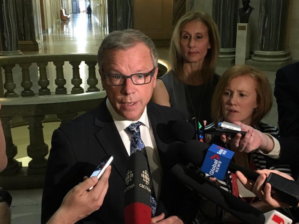 Saskatchewan Premier Brad Wall speaks to media at the Legislative Building in Regina on Monday, May, 1, 2017.