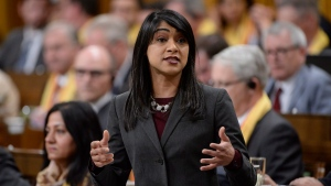 Government House Leader Bardish Chagger responds to a question during question period in the House of Commons on Parliament Hill in Ottawa on Monday, May 1, 2017. THE CANADIAN PRESS/Adrian Wyld