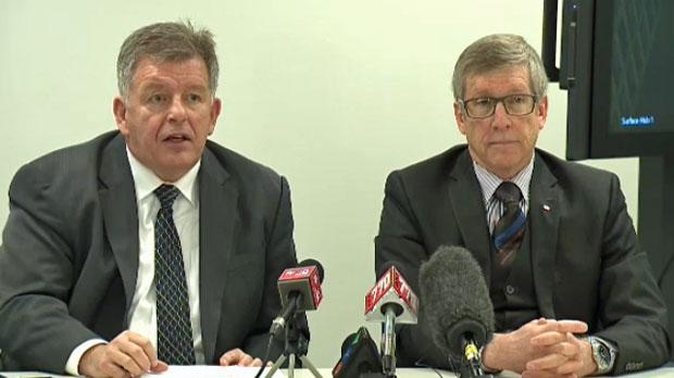 Calgary Bid Exploration Committee members Brian Hahn and Rick Hanson present interim report on 2026 Olympic bid