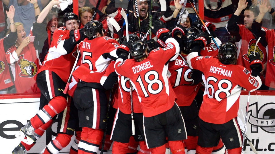 "The Ottawa Senators celebrate a game-winning goal by Jean-Gabriel Pageau (obscured) during the second overtime period in game two of a second-round NHL hockey Stanley Cup playoff series against New York Rangers in Ottawa on Saturday, April 29, 2017. Sens' defenceman Dion Phaneuf says the Senators ""got lucky"" in their double-overtime Game 2 win. THE CANADIAN PRESS/Adrian Wyld"