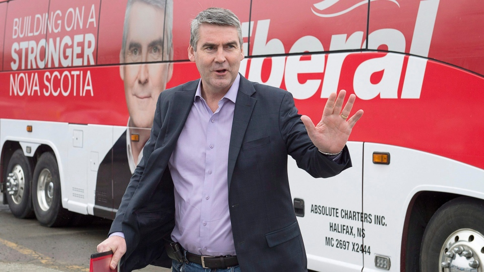 Nova Scotia Premier Stephen McNeil arrives for an infrastructure announcement as he campaigns in Halifax on Monday, May 1, 2017. (Andrew Vaughan/The Canadian Press)