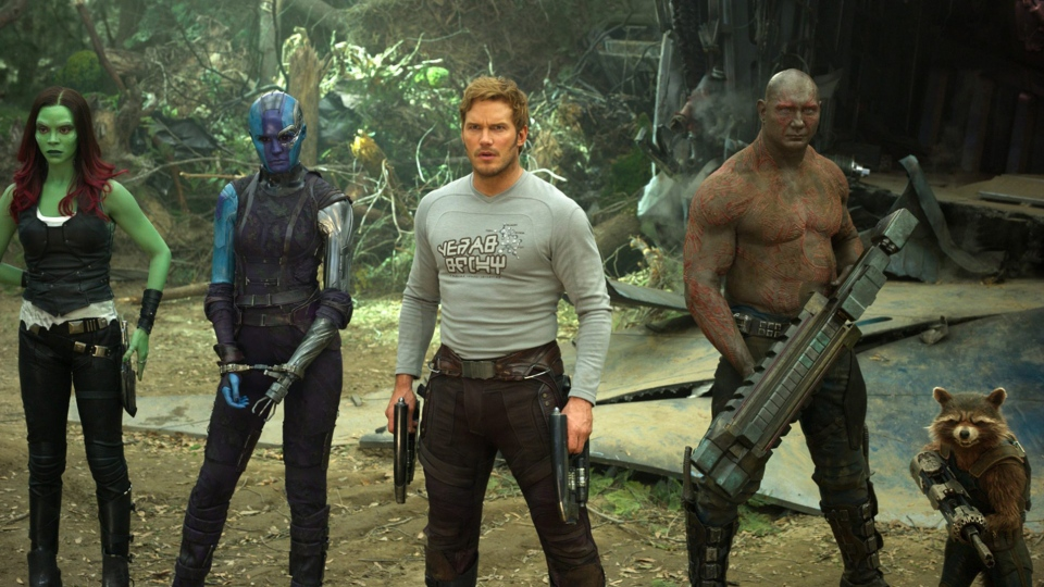 This image released by Disney-Marvel shows Zoe Saldana, from left, Karen Gillan, Chris Pratt, Dave Bautista and Rocket, voiced by Bradley Cooper, in a scene from, 'Guardians Of The Galaxy Vol. 2.' (Disney-Marvel via AP)