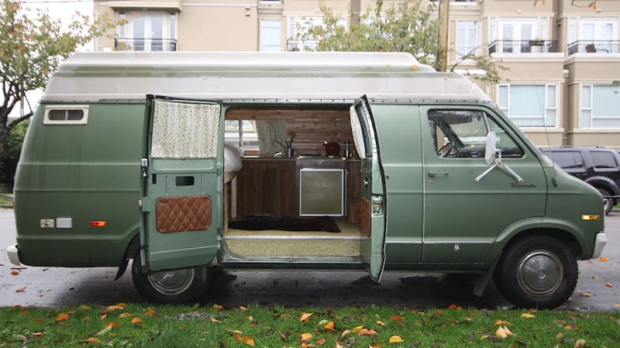 A unique ad for accommodations in Kitsilano lists a camper van called 'The Pickle' for $85 per night. (Airbnb)