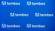 The Tembec logo is seen at the forest products manufacturer's annual meeting in Montreal, Thursday, January 26, 2017. (Paul Chiasson / THE CANADIAN PRESS)