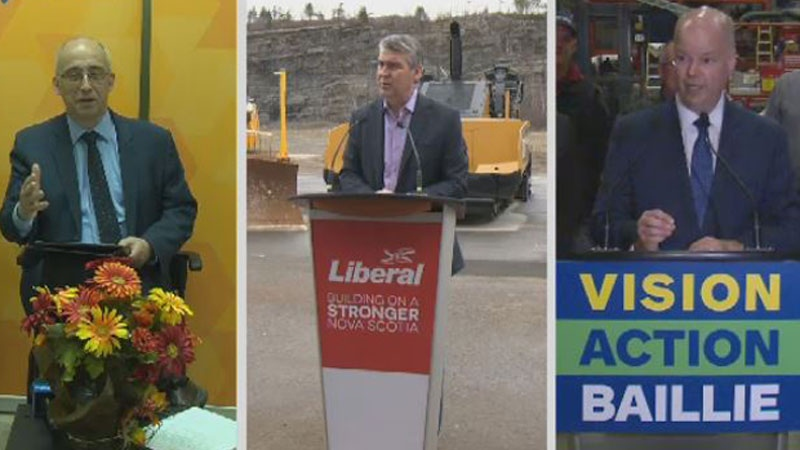 NDP Leader Gary Burrill (left), Nova Scotia Premier and Liberal Leader Stephen McNeil (centre), and PC Leader Jamie Baillie are seen campaigning on May 1, 2017.