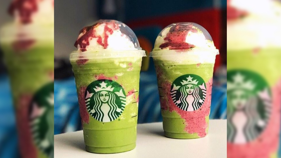 "The ""Dragon Frappuccino"" is similar to a Green Tea Frappuccino with some berry syrup swirled in. (laurbubble / Instagram)"
