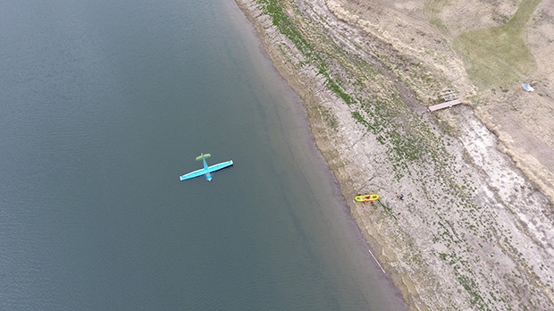 The pilot tried to land the plane on the shore but had to put it down in the water. (Photo: Abby Koshney)