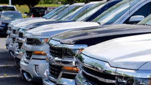 In this Wednesday, April 26, 2017, photo, Chevrolet trucks are lined up at a Chevrolet dealership in Richmond, Va. (Steve Helber/AP Photo)