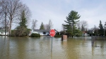 A flooded street is shown in the town of Rigaud, Que., west of Montreal, Sunday, April 23, 2017, following flooding in the region. (Graham Hughes/The Canadian Press)