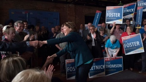 B.C. Liberal leader Christy Clark attends a rally during a campaign stop in Kelowna, B.C., Tuesday, May 2, 2017. (Jonathan Hayward / The Canadian Press)