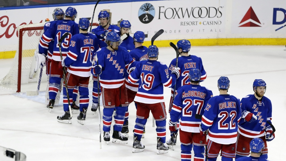 The New York Rangers celebrate after defeating the Ottawa Senators 4-1 in Game 3 of an NHL hockey Stanley Cup second-round playoff series Tuesday, May 2, 2017, in New York. (AP Photo/Frank Franklin II)