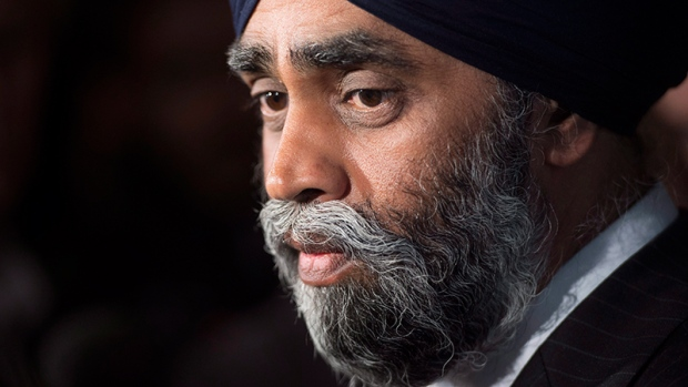 Defence Minister Harjit Sajjan speaks with the media after delivering a speech to the Conference of Defence Associations Institute in Ottawa, Wednesday, May 3, 2017. (Adrian Wyld / THE CANADIAN PRESS)