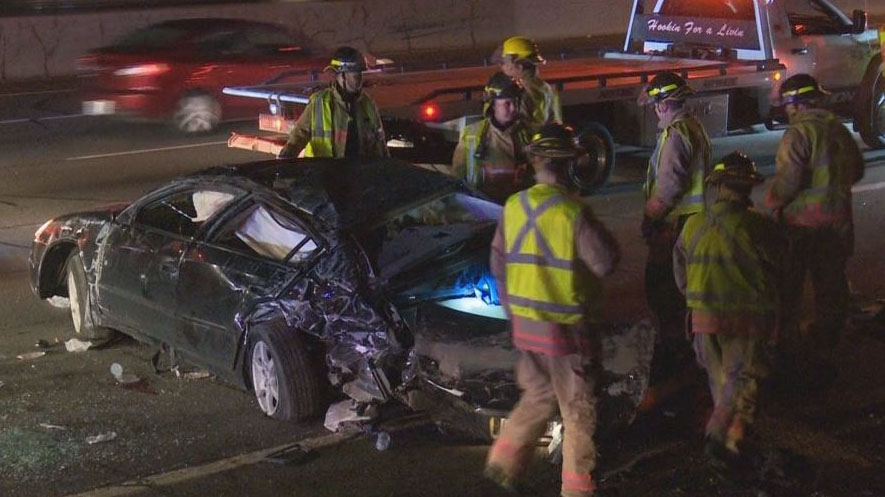 A crash involving two cars has shut down all Fort Erie bound lanes of the QEW at Guelph Line in Burlington. (David Ritchie)