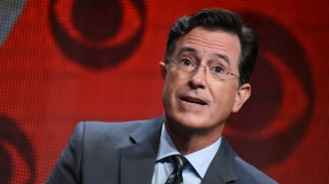 "FILE - In this Aug. 10, 2015, file photo, Stephen Colbert participates in ""The Late Show with Stephen Colbert"" segment of the CBS Summer TCA Tour in Beverly Hills, Calif. Colbert says he has no regrets about insulting President Donald Trump in a monologue that included a crude sexual reference and prompted calls to fire him and boycott ""Late Show"" advertisers. In his Wednesday, May 3, 2017, monologue, Colbert says he would change ""a few words that were cruder than they needed to be"" but he'd still do it again. (Photo by Richard Shotwell/Invision/AP, File)"