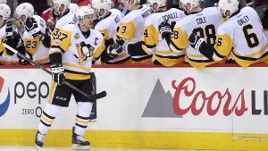 In this April 27, 2017 file photo, Pittsburgh Penguins centre Sidney Crosby (87) celebrates his goal with the bench during the second period of Game 1 of the team's NHL hockey Stanley Cup second-round playoff series against the Washington Capitals. (AP / Nick Wass)