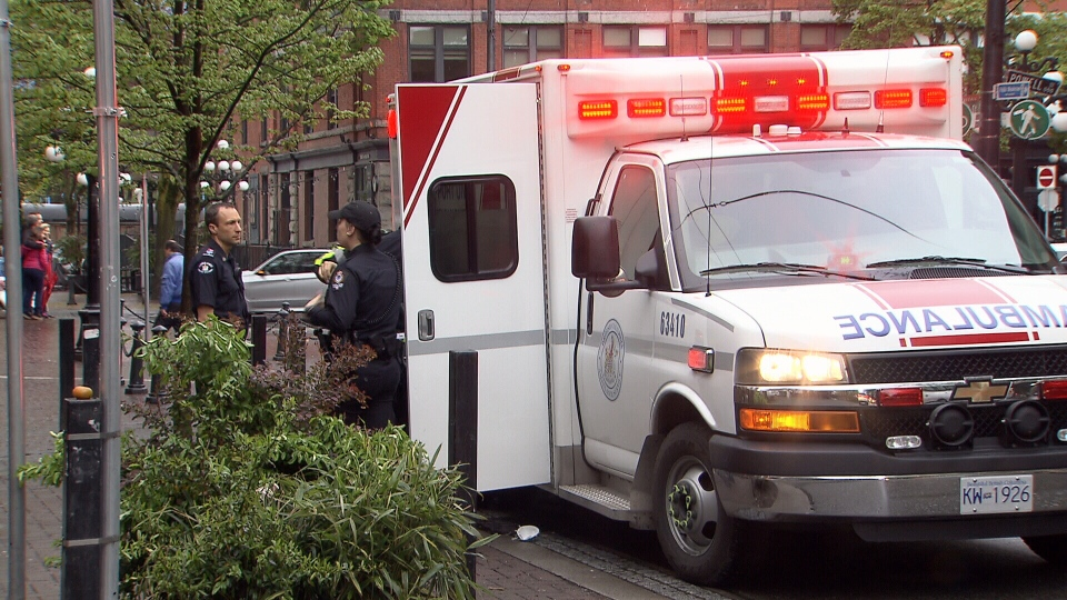 An unidentified man was rushed to hospital after catching on fire while overdosing in a Gastown alley. May 3, 2017. (CTV)