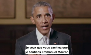In this image taken from video made available by the Obama Foundation, former U.S President Barack Obama relays a message showing his support for French presidential candidate Emmanuel Macron. (Obama Foundation via AP)