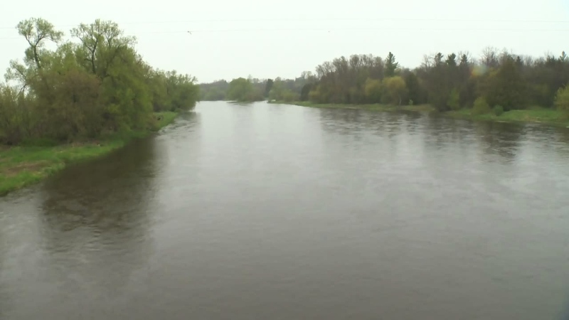 The Grand River flows through the Winterbourne area on Thursday, May 4, 2017.
