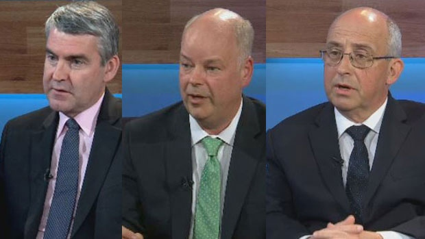 Nova Scotia Premier Stephen McNeil (left), Progressive Conservative Leader Jamie Baillie (middle), and NDP Leader Gary Burrill (right) are seen speaking with CTV News during the first week of the campaign trail.
