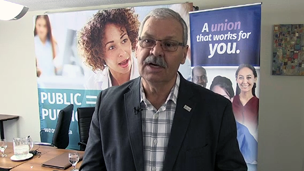 OPSEU president Warren Thomas said the provincial government is cutting, diminishing and privatizing public services.