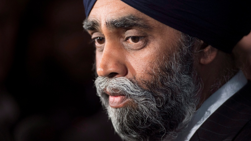 Minister of National Defence Minister Harjit Sajjan speaks with the media after delivering a speech to the Conference of Defence Associations Institute in Ottawa, Wednesday May 3, 2017. (THE CANADIAN PRESS / Adrian Wyld)