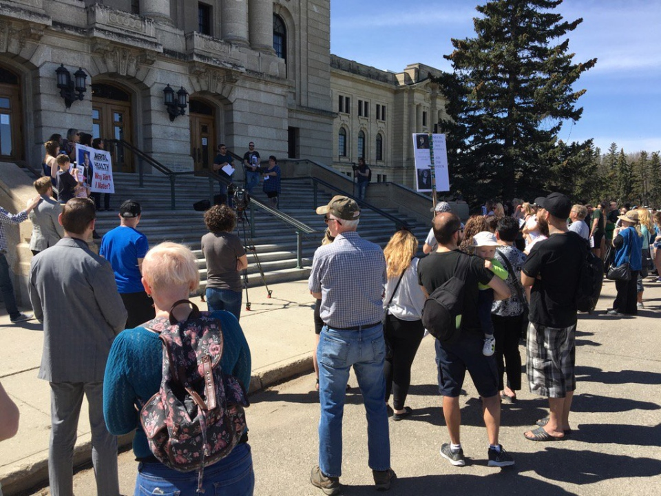 Hundreds of people attended a rally outside the Saskatchewan legislature to push for more mental health supports in the province Friday, May 5, 2017. (GARETH DILLISTONE/CTV REGINA)