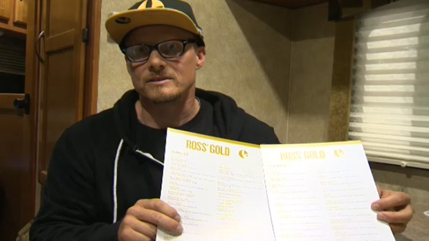 Ross Rebagliati holds up a menu of Ross' Gold offerings and says he sees a lot of seniors in his shop in Kelowna.