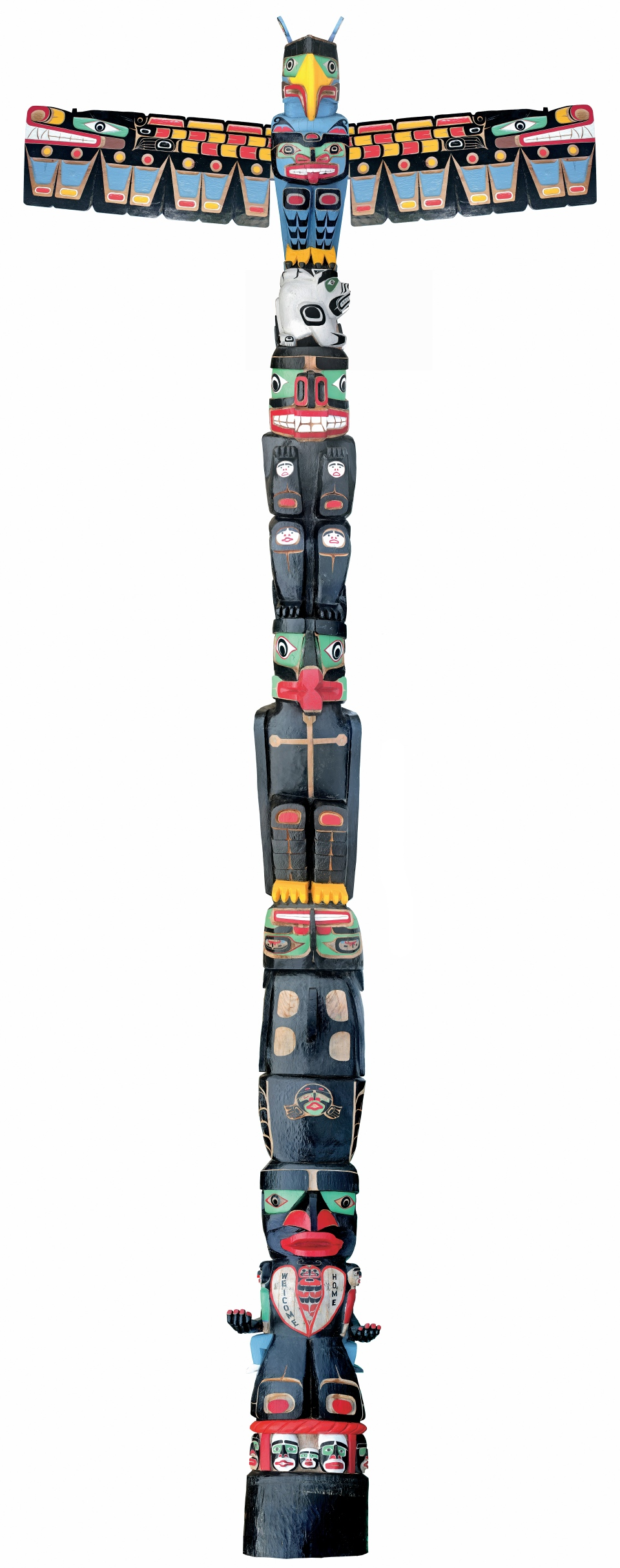 Charles Joseph's totem pole is seen in this image. (Montreal Museum of Fine Arts)