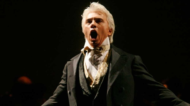 In this Feb. 6, 2007, file photo, Dmitri Hvorostovsky performs during the final dress rehearsal for the opera 'Eugene Onegin' in New York. (AP Photo/Shiho Fukada, File)