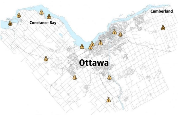 ottawa also included another map displaying locations where residents can get sandbagsthe city is asking residents to leave sandbags already in position in