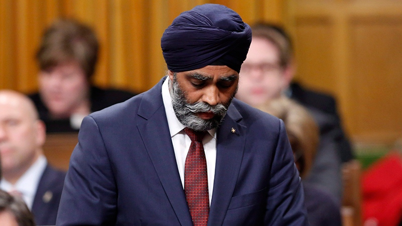 Minister of National Defence Harjit Sajjan stands during Question Period in the House of Commons on Parliament Hill in Ottawa, Thursday, May, 4, 2017. (THE CANADIAN PRESS/Fred Chartrand)