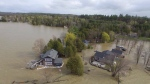 Aerial view of flooded properties on Cardinal Lane in Castleford, Ont.  (Stephanie Barnabe/CTV Viewer