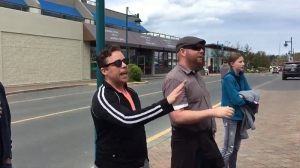 Teachers from Parkland Secondary crashed Christy Clark's final push in the riding of Saanich North and the Islands, Monday, May 8, 2017. (CTV Vancouver Island)