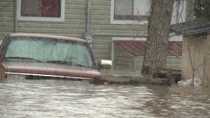 A pick up truck is seen half-submerged in the flood waters in Arnprior on Monday, May 8, 2017. (CTV Ottawa)