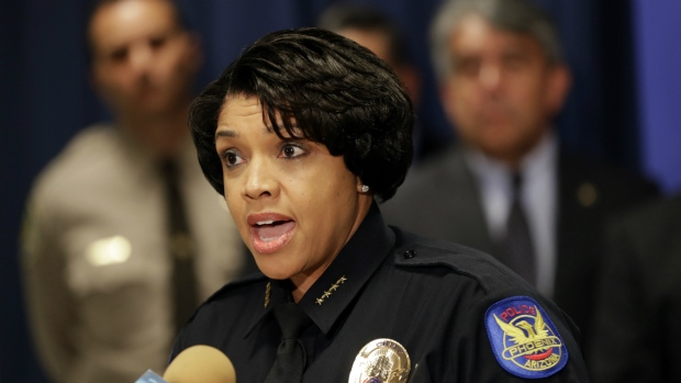 Phoenix Police Chief Jeri L. Williams announces, in Phoenix, the arrest of 23-year-old Aaron Saucedo in connection with the serial street shootings that terrorized the Phoenix area over four months in 2016, on Monday, May 8, 2017. (AP / Matt York)