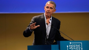 Former U.S. President Barack Obama talks during the 'Seeds&Chips - Global Food Innovation' summit, in Milan, Tuesday, May 9, 2017. Obama is in Milan to deliver a keynote speech on food security and the environment, two issues that he has long worked on. (AP / Luca Bruno)