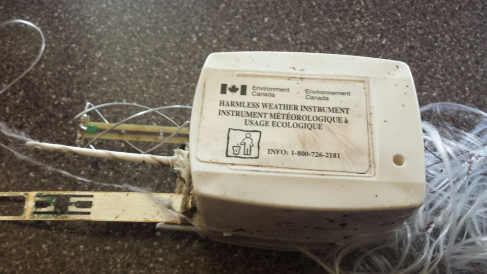 Madison found this radiosonde box outside her uncle's house in Upper Northfield NS yesterday.