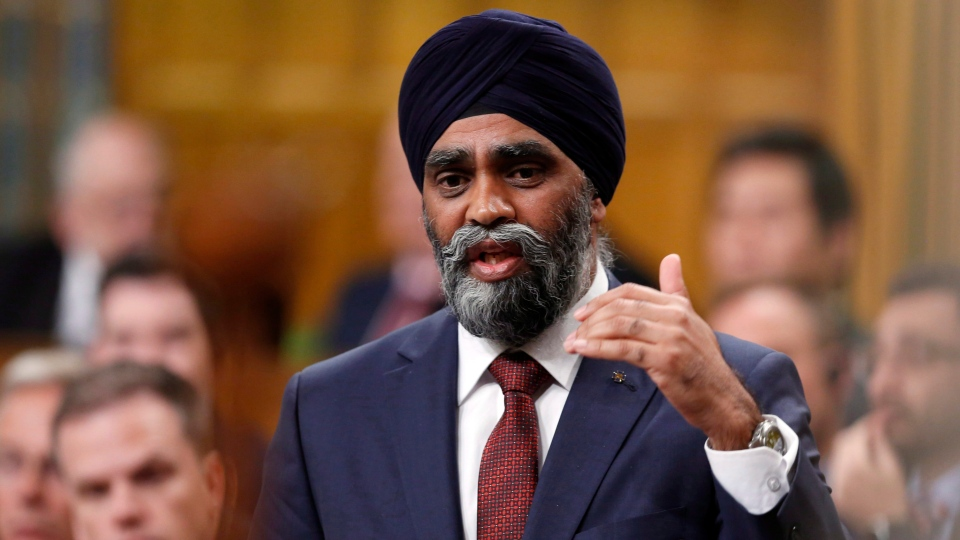 Defence Minister Harjit Sajjan stands during question period in the House of Commons on Parliament Hill in Ottawa, Thursday, May, 4, 2017. (Fred Chartrand / THE CANADIAN PRESS)