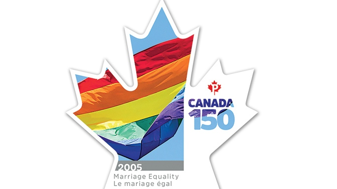 "The maple-leaf-shaped stamp shows an image of a rainbow flag and the words ""marriage equality"" in both French and English."