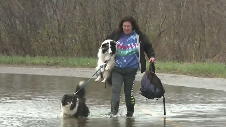 Residents of Darlings Island, N.B., have been forced to walk at least a kilometre to their homes due a washed out road.