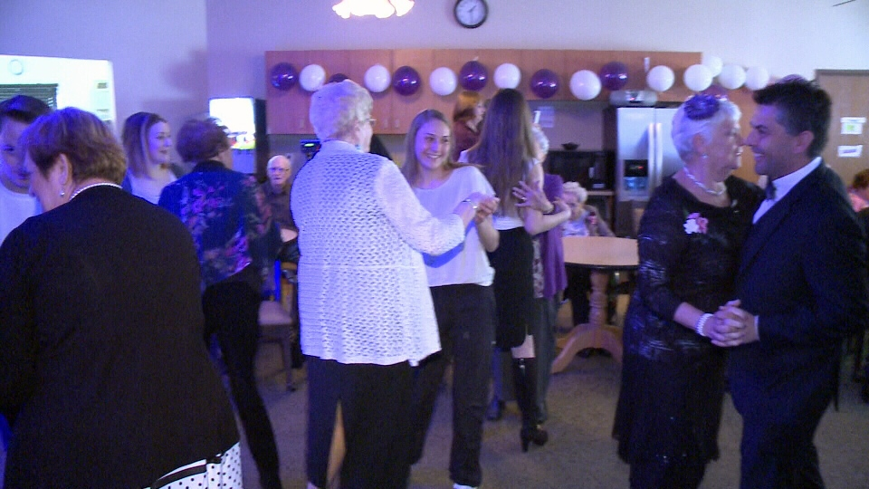 Residents at the Arnprior Villa retirement residence join grade nine students from Arnprior high school on the dance floor of the spring prom. (Jim O'Grady/CTV Ottawa, May 9, 2017)
