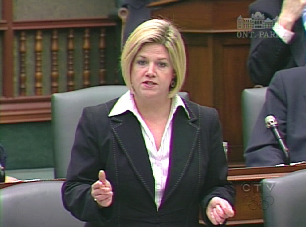 Ontario NDP Leader Andrea Horwath stands during question period at Queen's Park in Toronto, Wednesday, March 25, 2009.