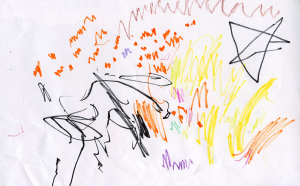 Weather art by Megan, age 2.