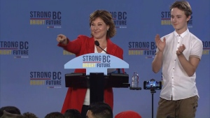 Liberal Leader Christy Clark speaks to supporters at the party's election night headquarters in downtown Vancouver. May 10, 2017. (CTV)