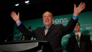 B.C. Green party leader Andrew Weaver in Victoria, B.C., on May 10, 2017. (Chad Hipolito / THE CANADIAN PRESS)