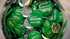 B.C. Green Party pins in a fishbowl